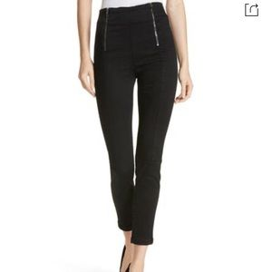 FRAME Denim Double Zip Waist Skinny Jeans, Noir